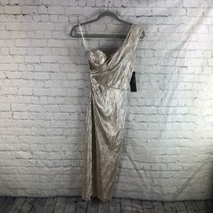 NWT Stop Staring Gold Alexis One Shoulder Dress
